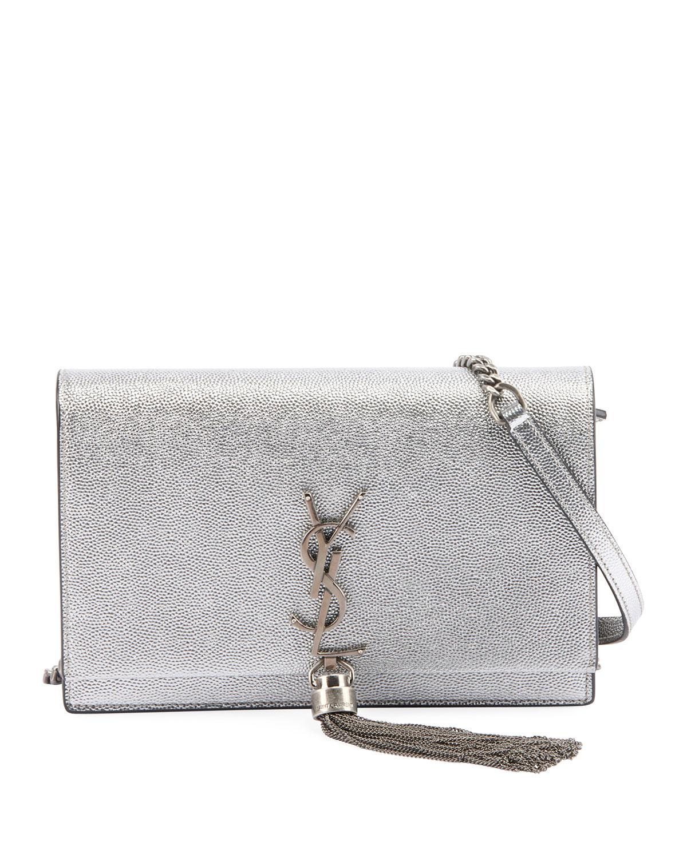 Saint Laurent. Women s Kate Monogram Ysl Small Crackled Metallic Tassel  Wallet On Chain - Silver Hardware fa4c891fd7