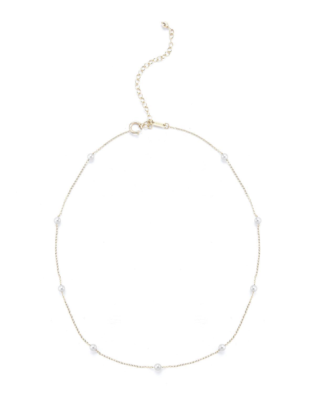 Mizuki 14k Pearl Station Chain Choker Necklace njZFq8