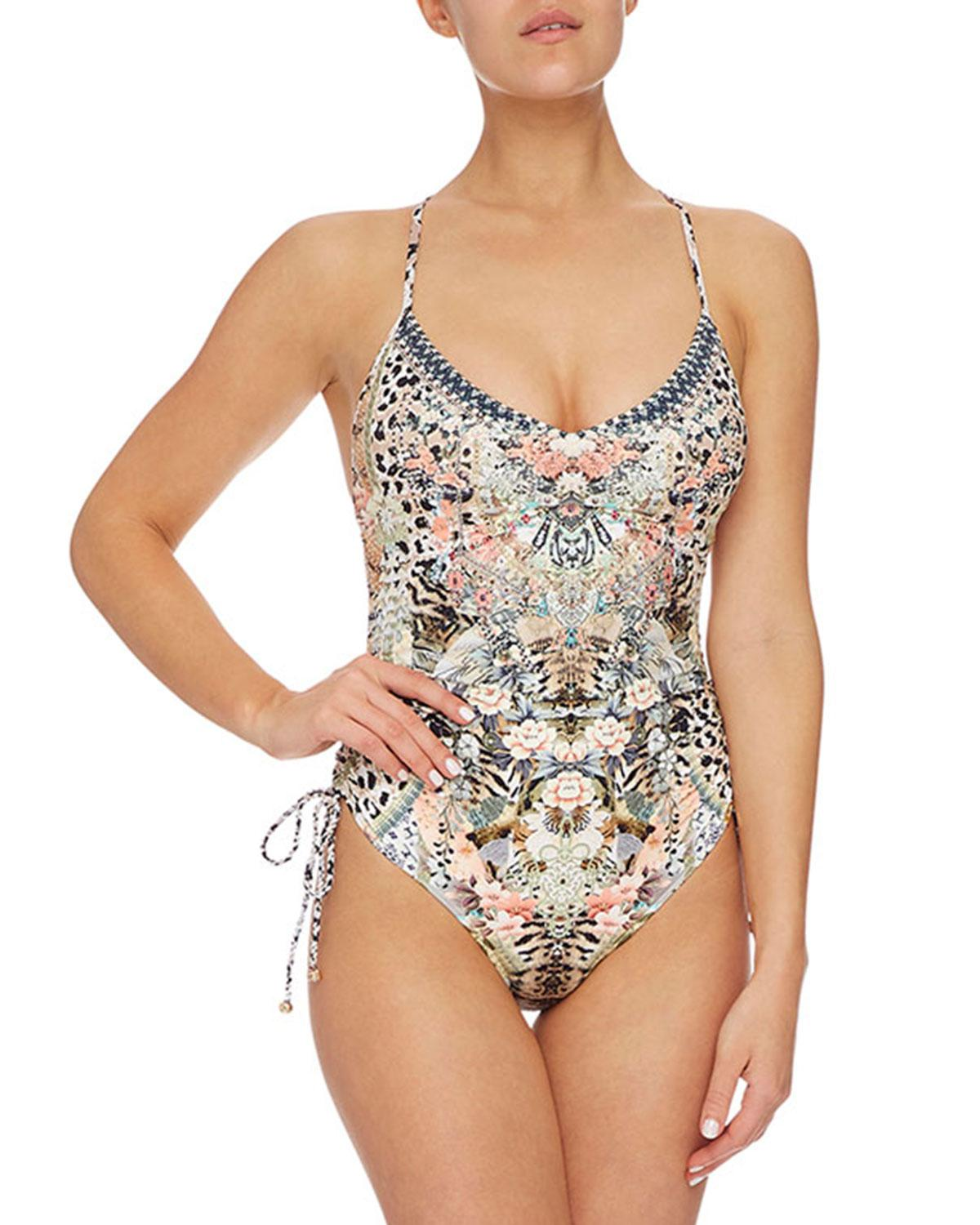 a7c92cc7c4a6f Camilla. Women's Ruched-side Printed V-neck One-piece Swimsuit