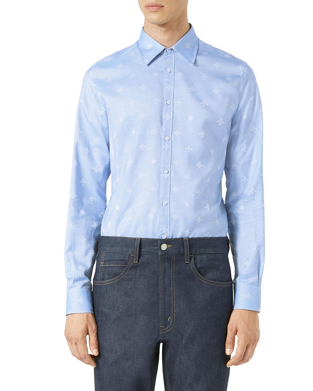 4c9829ac1 Gucci Bee Jacquard Oxford Duke Shirt in Blue for Men - Lyst