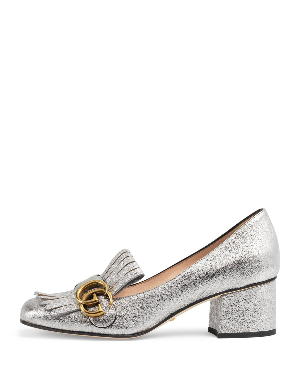 4c7314fbf2f Lyst - Gucci 55mm Marmont Metallic Loafer - Save 4%