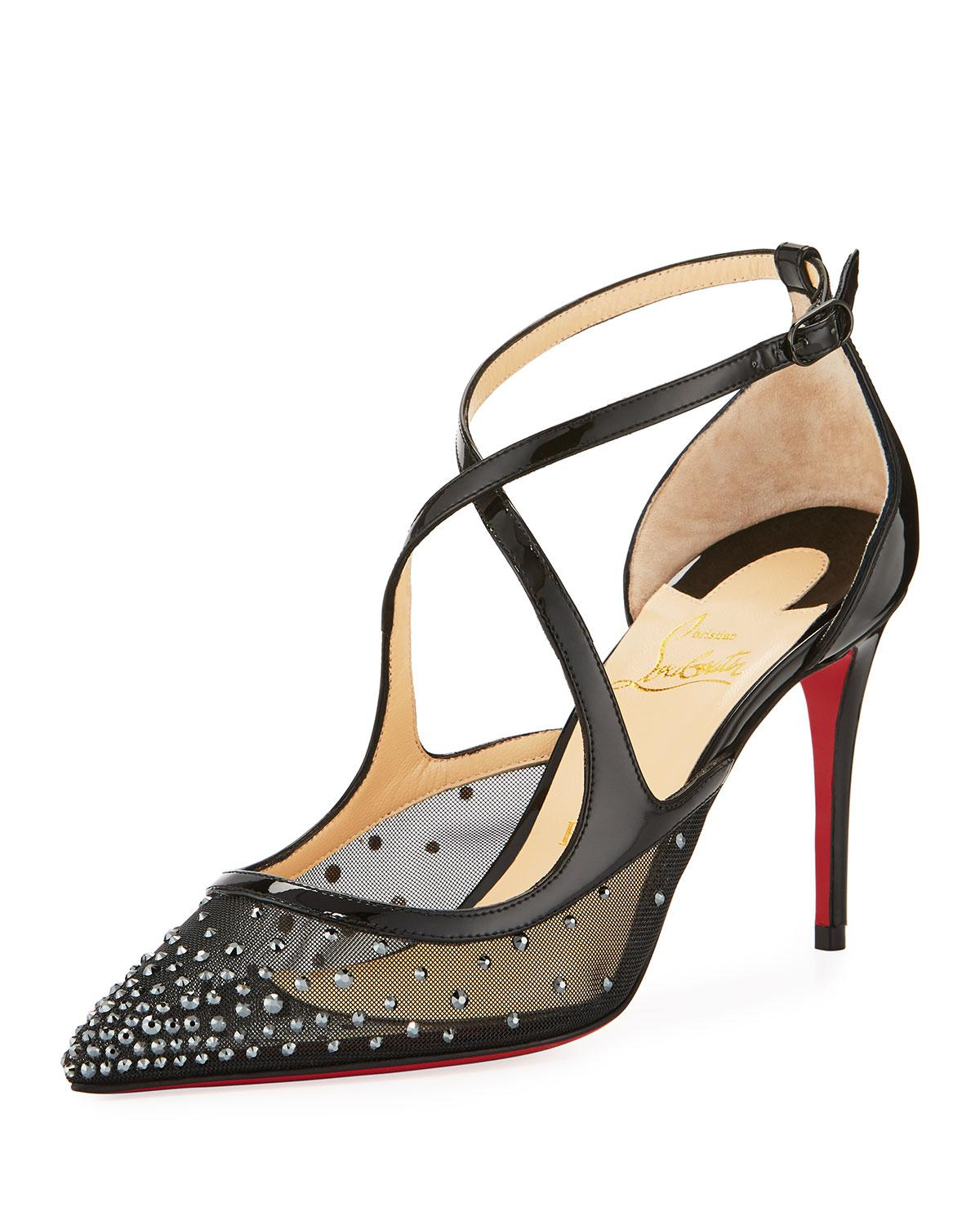 99d1ed4b419 Lyst - Christian Louboutin Twistissima Strass Red Sole Pump in Black