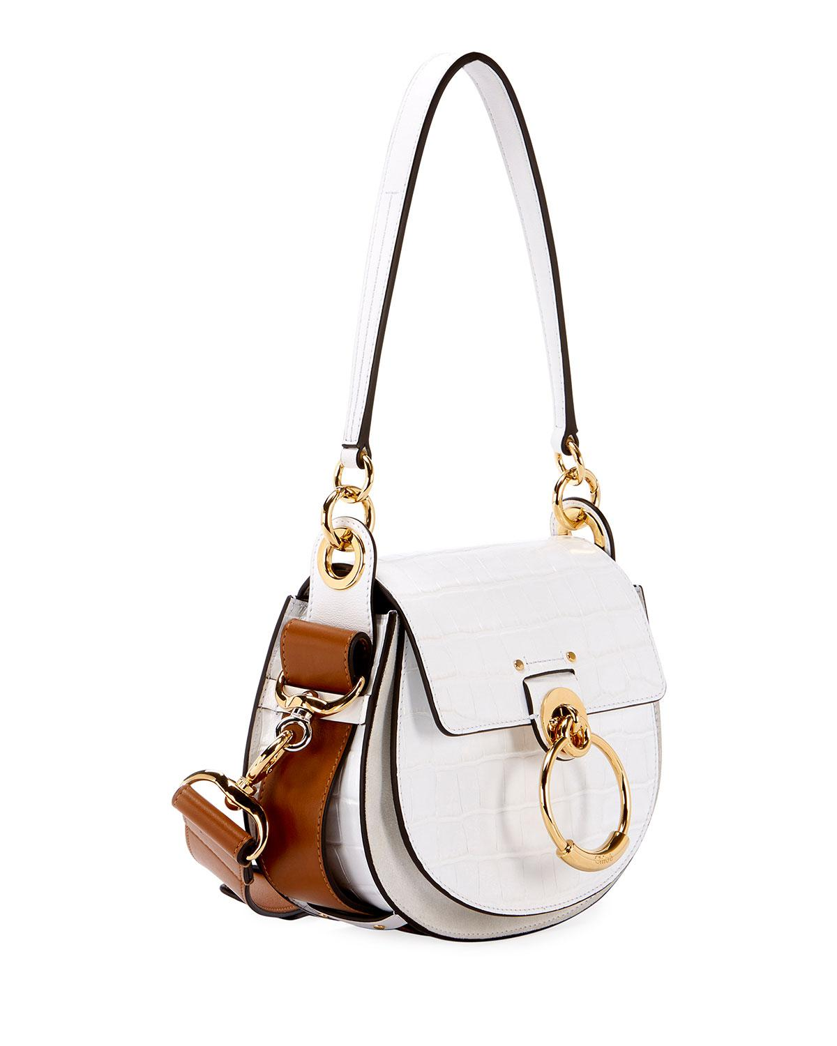 e1539cf009a2f2 Chloé Tess Small Embossed Leather Shoulder Bag in White - Save 25% - Lyst