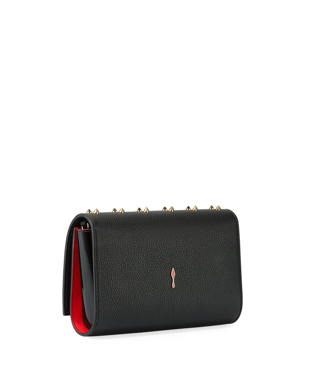 3c009b79f68 Christian Louboutin Paloma Fold-over Embellished Clutch Bag in Black ...