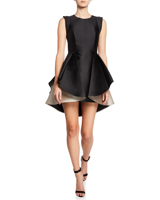 ab9ef924c72f5 Lyst - Halston Structured Cap-sleeve Satin Twill Dress With Dramatic ...
