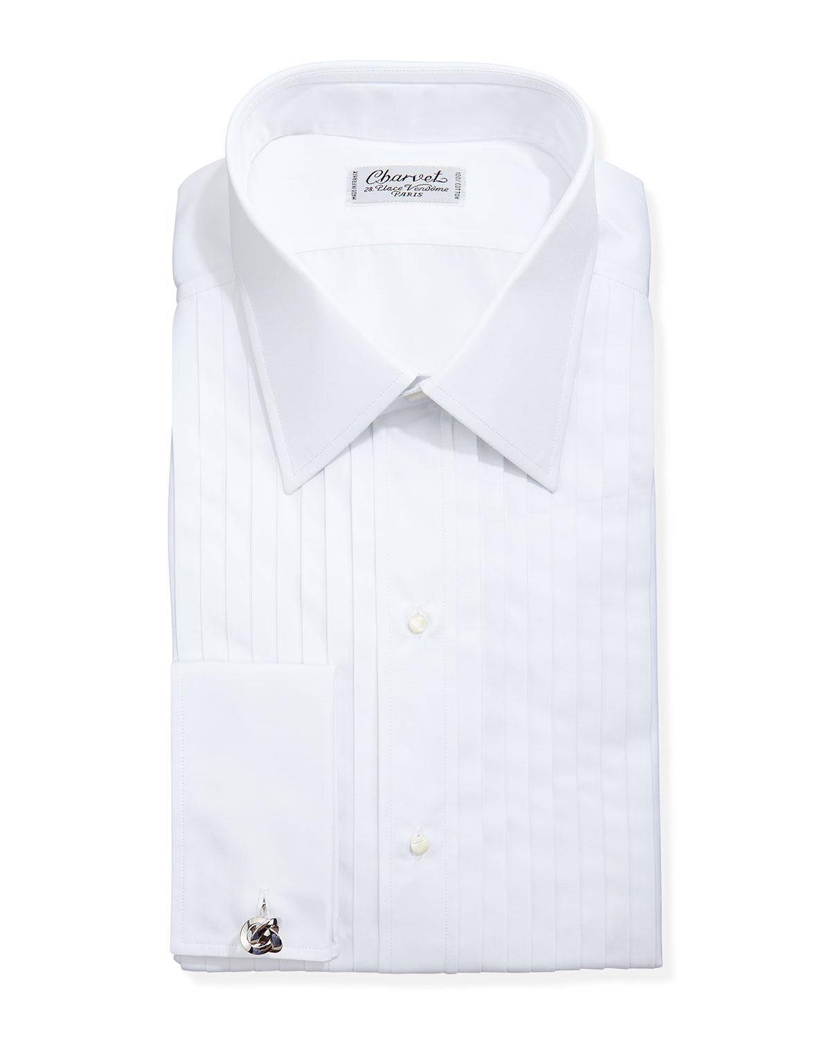 Lyst charvet french cuff dress shirt in white for men for Mens white french cuff shirt