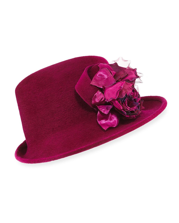 Lyst - Philip Treacy Side Sweep Velour Hat W  Rosette d257d0c7b215