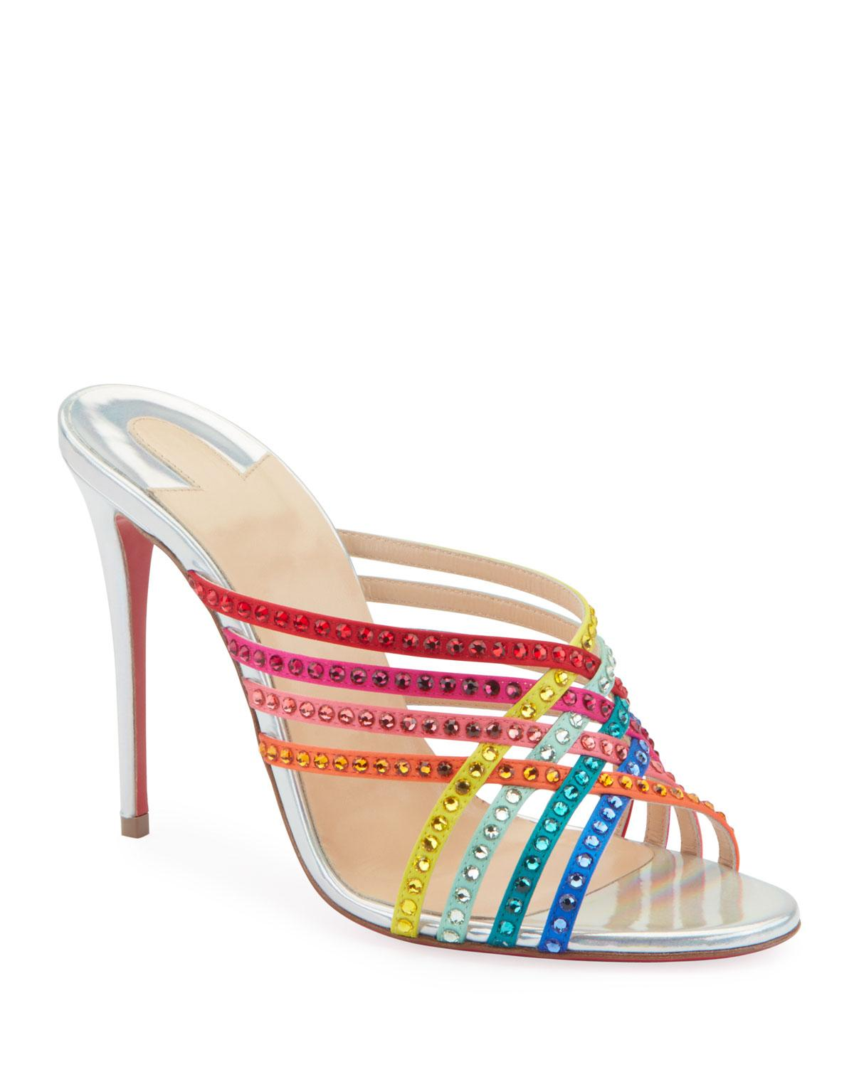 aa1711bba02 Lyst - Christian Louboutin Marthastrass 100 Red Sole Slide Sandals ...