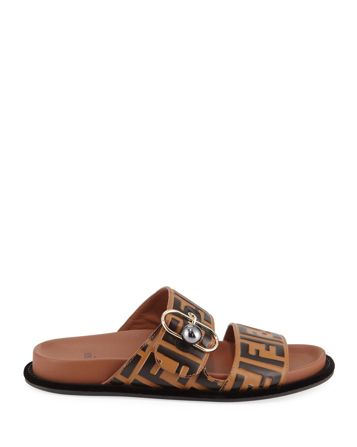 c6dae6635a30 Lyst - Fendi Ff Double Strap Sandals in Brown - Save 35%