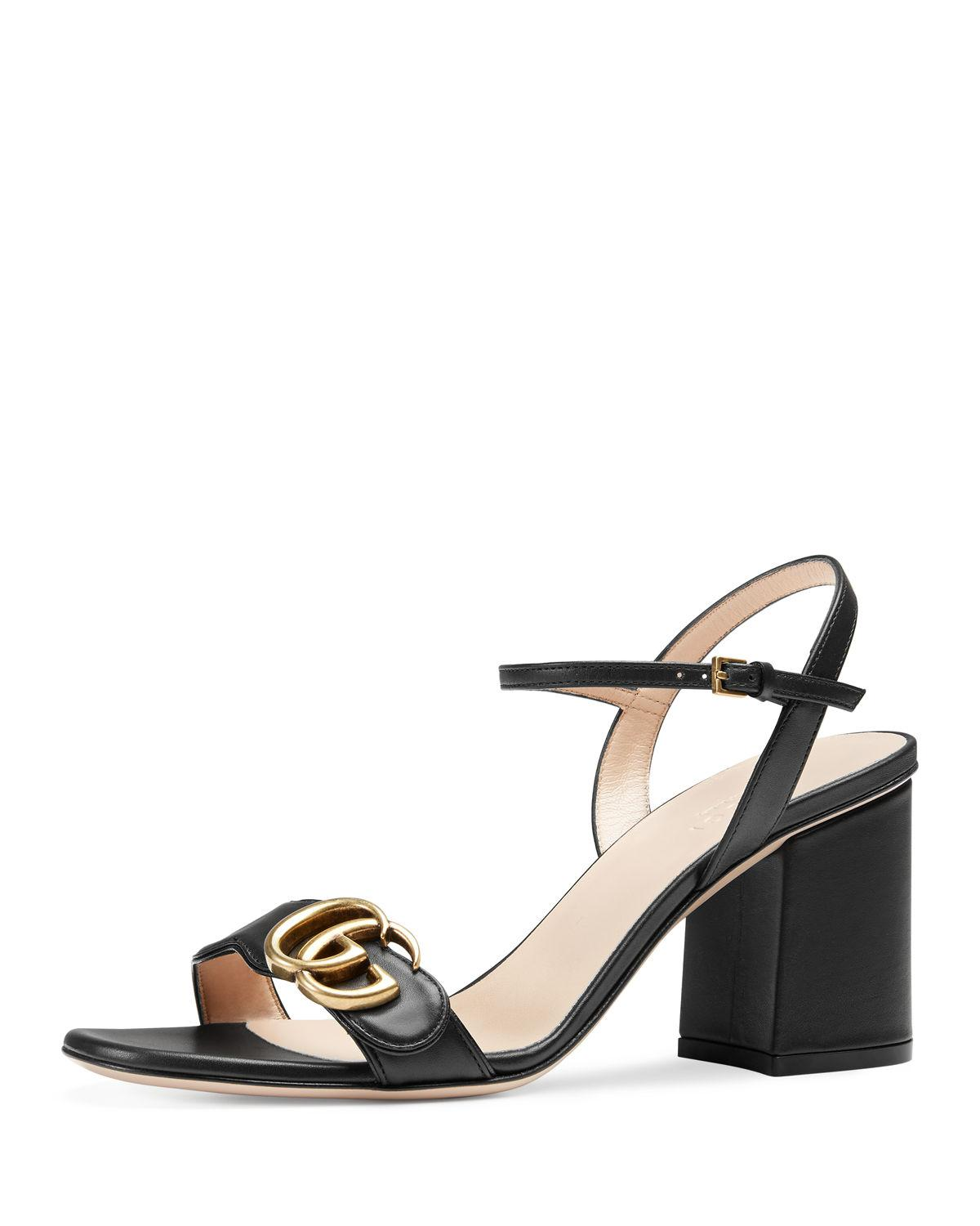 4d245e978 Gucci Marmont Leather GG Block-heel Sandals in Black - Lyst