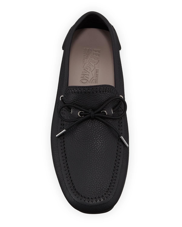 77a37abe260 Lyst - Ferragamo Men s Atlante Leather Drivers in Black for Men