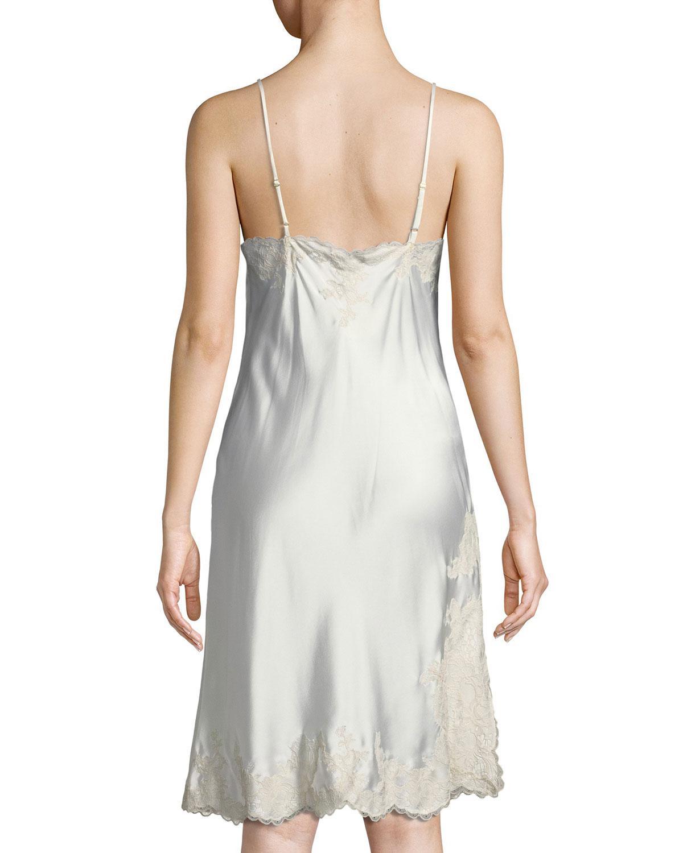 1894bfbe64aa Lyst - Josie Natori Camilla Lace-trim Silk Chemise in White