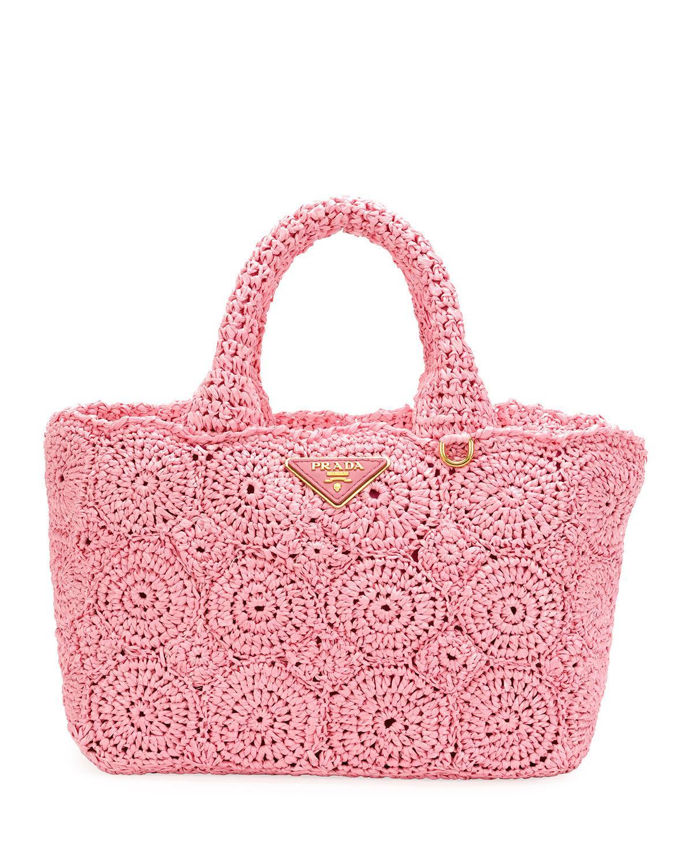 5737d9e7b328 Prada Raffia Circle Tote Bag in Pink - Lyst