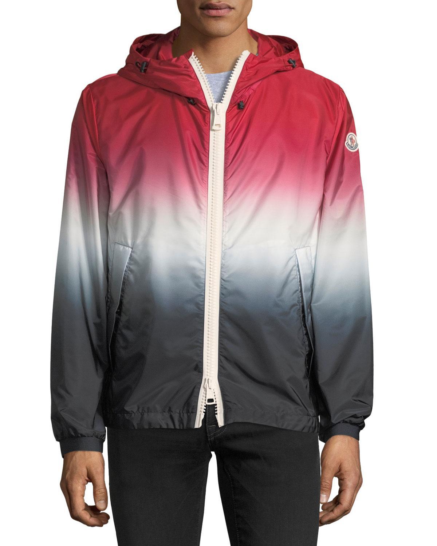 ce12a3032 Men's Hooded Red White Blue Degrade Nylon Jacket