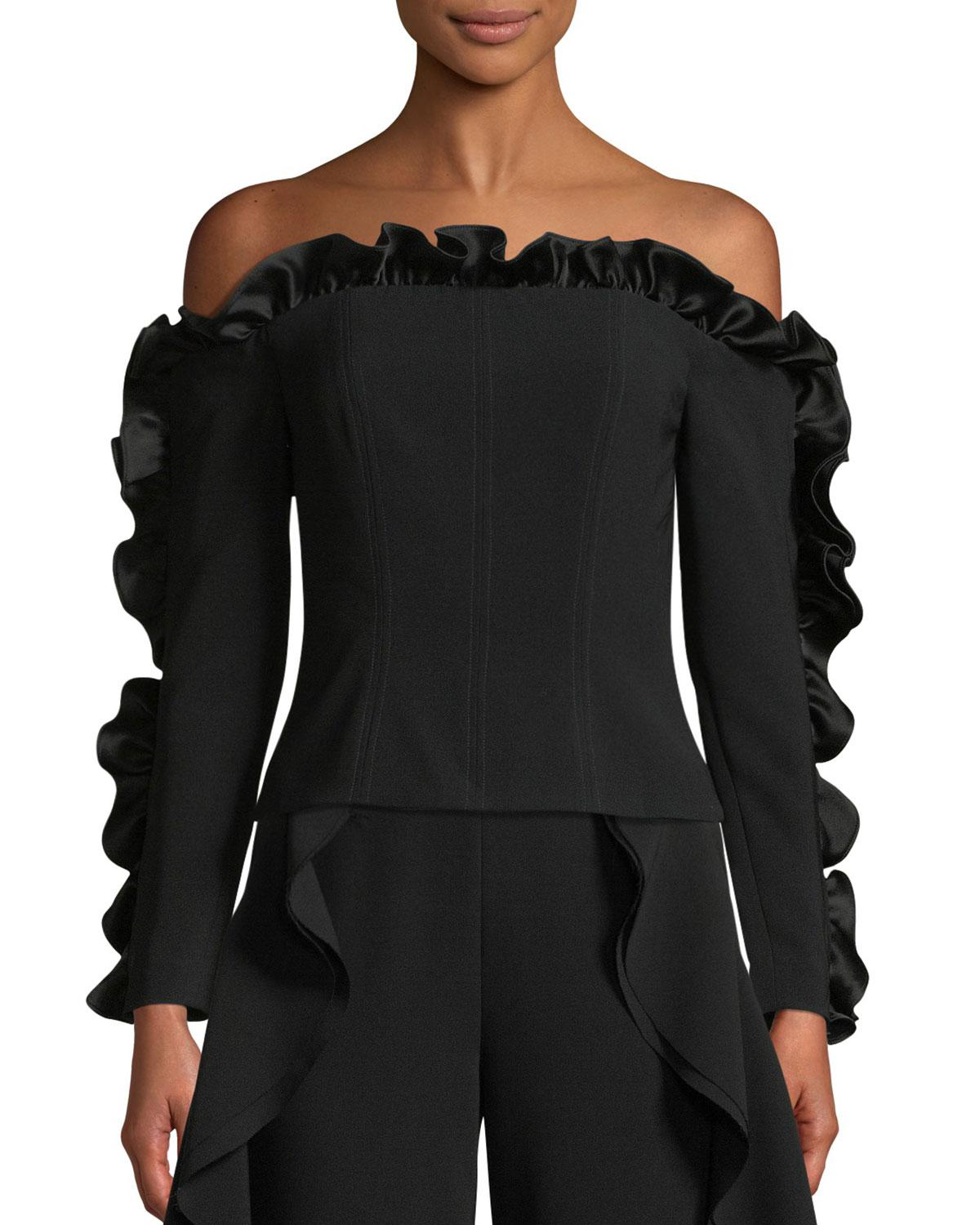bf390113e443ff Lyst - Cinq À Sept Macie Off-the-shoulder Ruffle Blouse in Black
