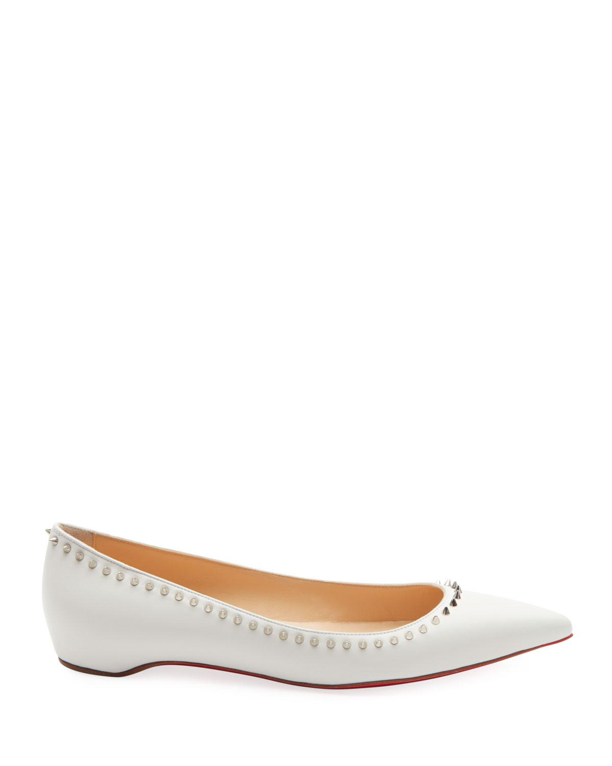 eb5c11961e5 Christian Louboutin White Anjalina Studded Red Sole Ballet Flats