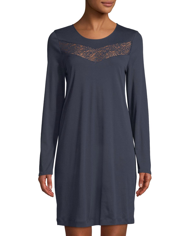 7fe7b663a3 Lyst - Hanro Liv Long-sleeve Short Nightgown in Blue