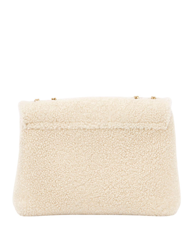 3d5520b6ef1a Lyst - Saint Laurent Lou Lou Medium Shearling Shoulder Bag in Natural