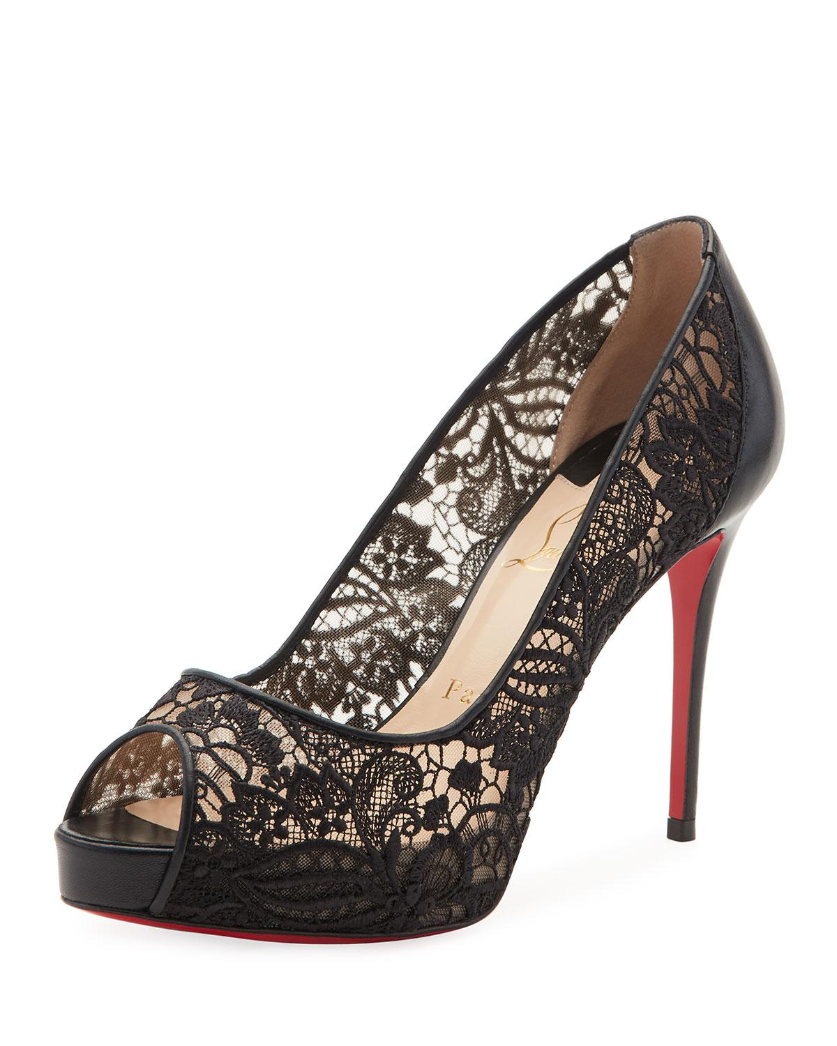 e63099f7b8d ... sweden lyst christian louboutin very lace peep toe red sole pump in  black eacf3 a0c15 ...