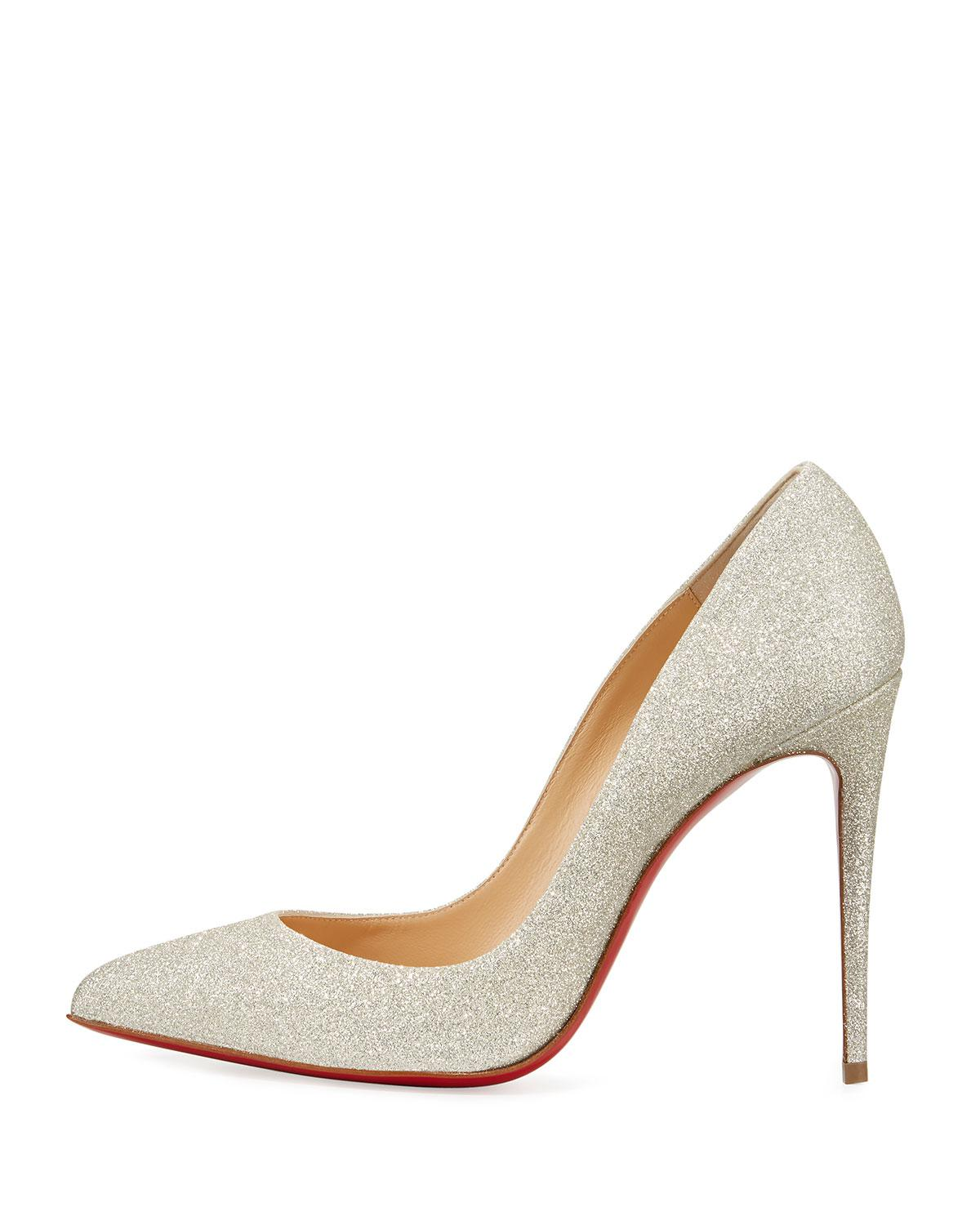 dcdbd832d7dd Christian Louboutin Pigalle Follies Glittered Red Sole Pumps in White -  Save 6% - Lyst