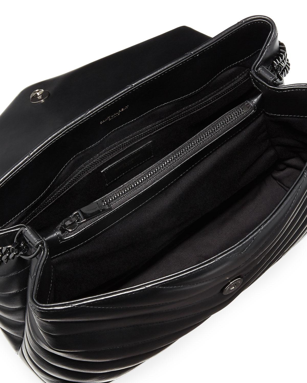 77982b6b9aa8 Lyst - Saint Laurent Monogram Loulou Medium Chain Bag With Noir Hardware in  Black