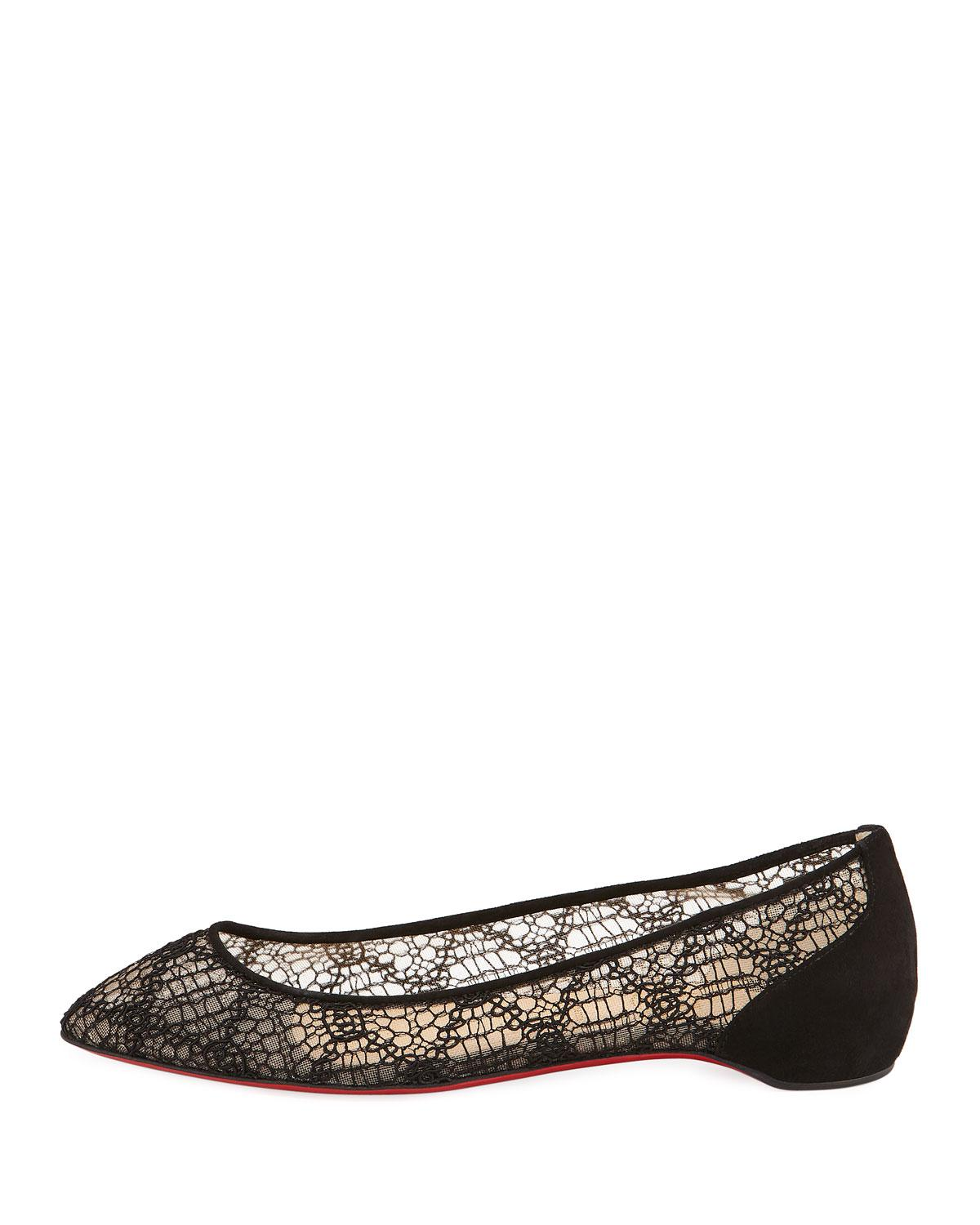 the best attitude 82215 62fb0 Christian Louboutin Black Eloise Lace Red Sole Ballet Flats