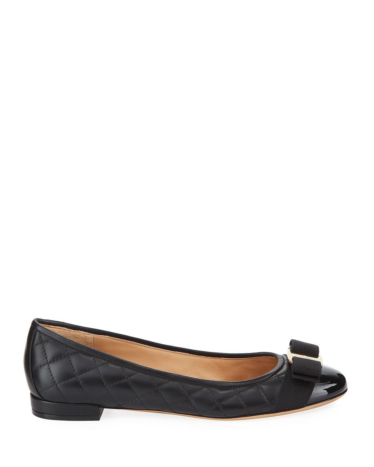 2279b3dca Lyst - Ferragamo Varina Quilted Bow Ballet Flats in Black - Save 33%
