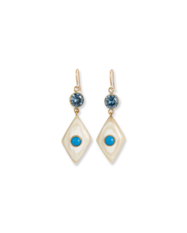 Ashley Pittman Uti Light Horn & Turquoise Drop Earrings SDywZWp1QM