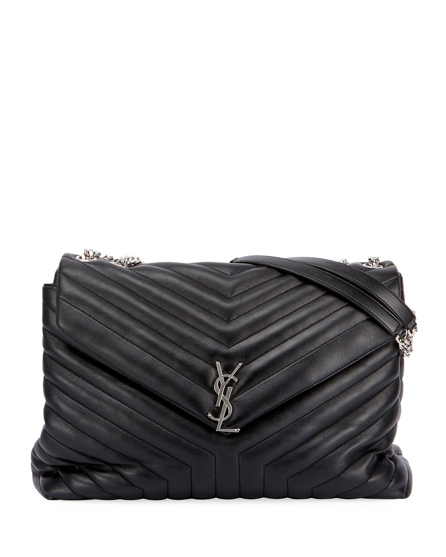 b11159622021c Saint Laurent Loulou Monogram Ysl Large V-flap Chain Shoulder Bag ...