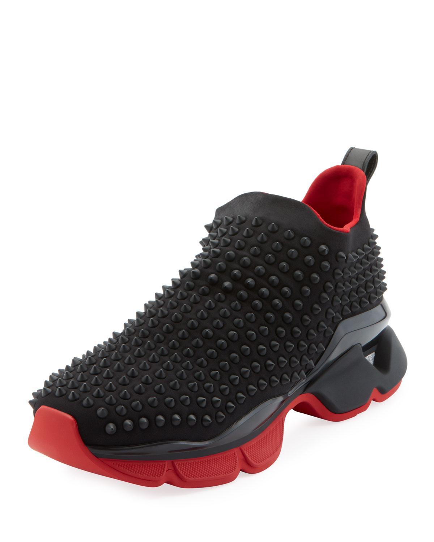 separationsskor några dagar bort fabrikspris Christian Louboutin Spike Embellished Neoprene Sock Trainers in ...