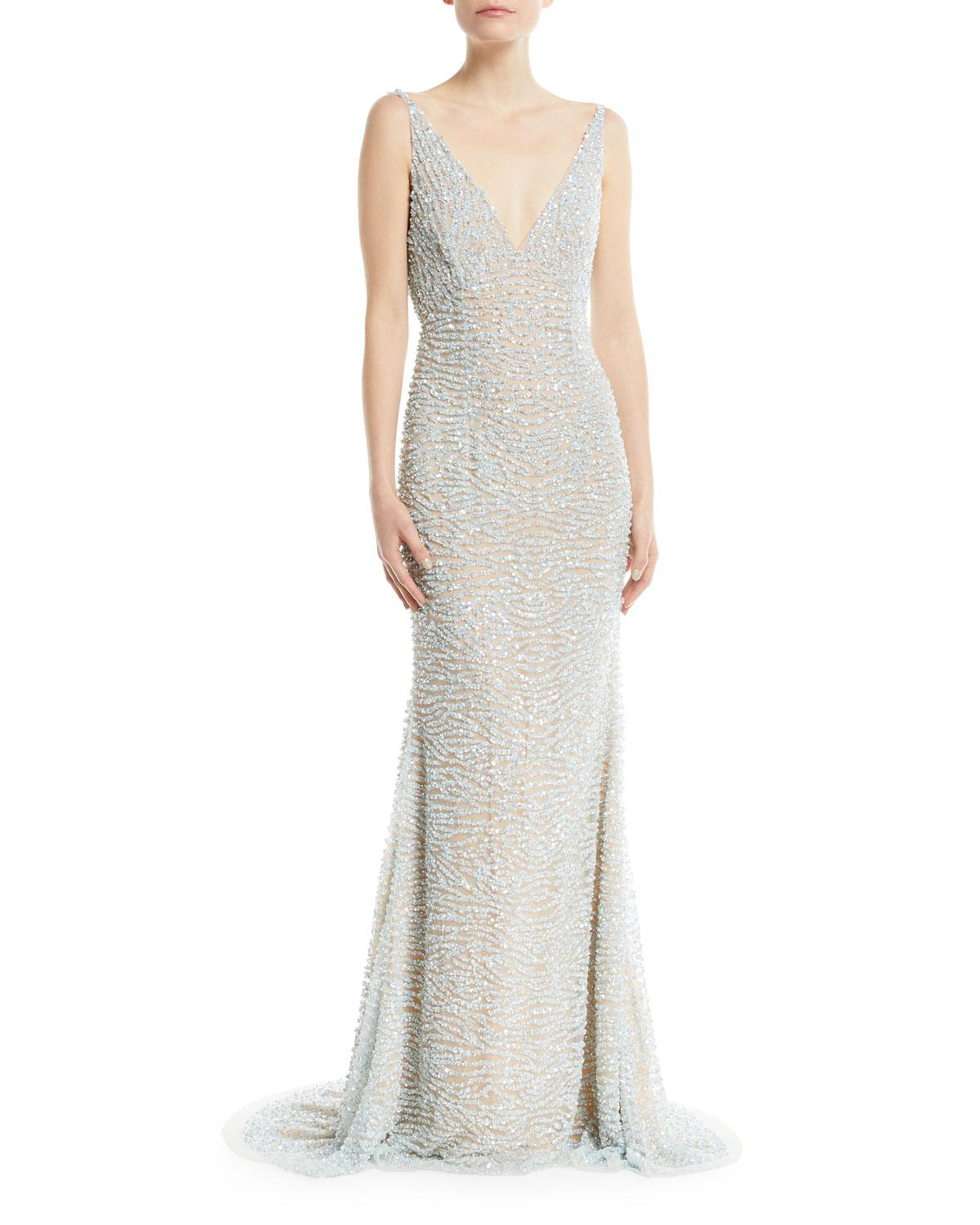 d1ca05831ce41 Naeem Khan Beaded Cowl-back Gown in Blue - Lyst
