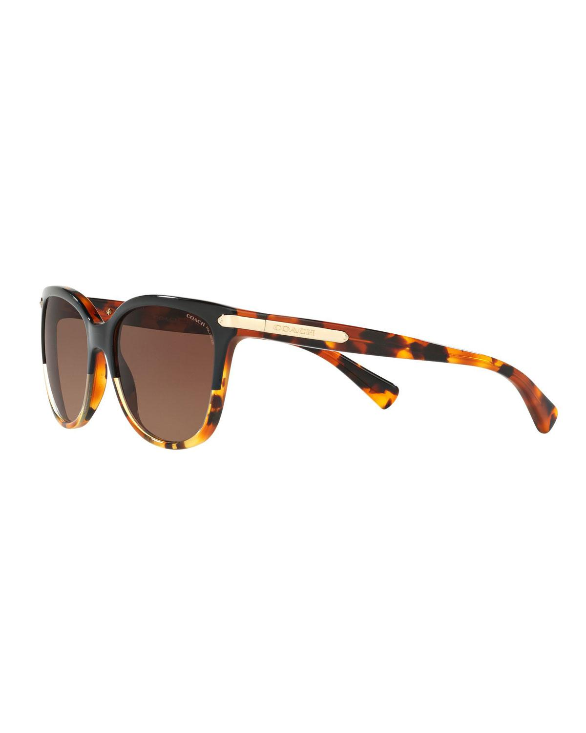ade7b699699 Lyst - COACH Cat-eye Sunglasses W  Logo Plate Temples in Brown ...