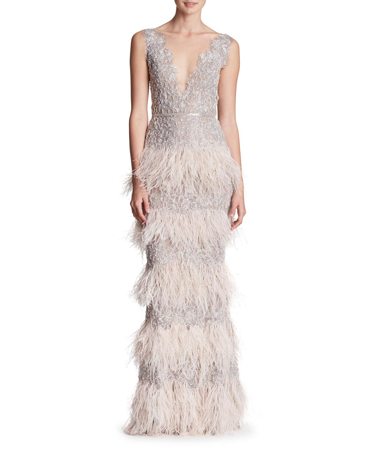 Lyst - Marchesa Sleeveless Plunging Feather-tiered Evening Gown in ...