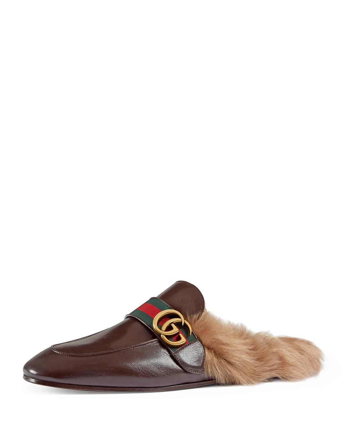0071396c5ed Lyst - Gucci New Princetown Leather Fur-lined Slipper With Double G ...