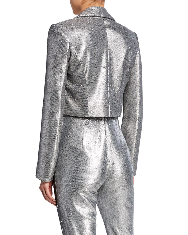 84dbc866a2fe Lyst - Pamella Roland Sequined Crop Jacket in Metallic