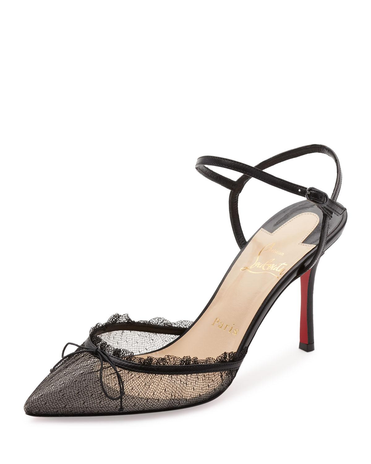f1db07a8633 ... get lyst christian louboutin travalata lace ankle strap red sole pump  a02ba 6f2e3