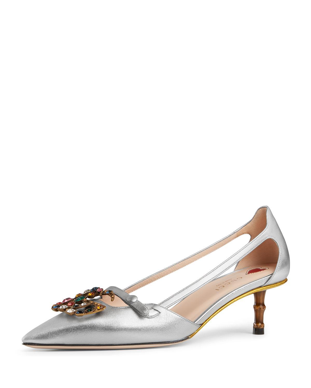 437554cadea Gucci. Women s Jewel-GG Metallic Leather Pumps