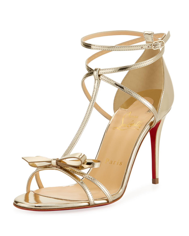 a5edb06897c4 Lyst - Christian Louboutin Blakissima Metallic Red Sole Sandal in ...