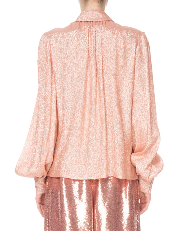 f7185da1c4f0e3 Marc Jacobs - Pink Shimmer Tie-neck Blouse - Lyst. View fullscreen