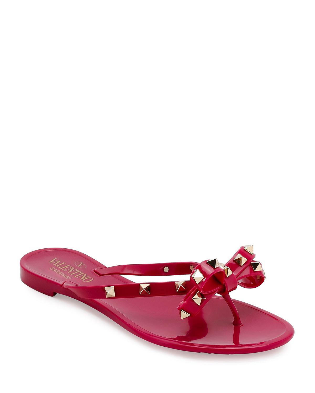 Valentino Rockstud Rubber Sandals in
