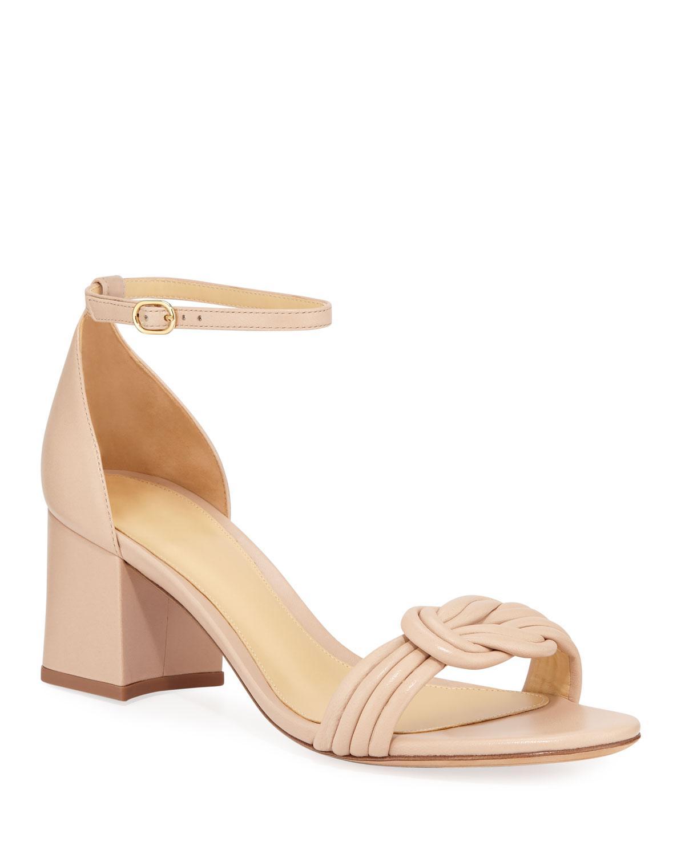 a930b073327f Alexandre Birman. Women s Natural Malica Knot Block-heel Leather Sandals