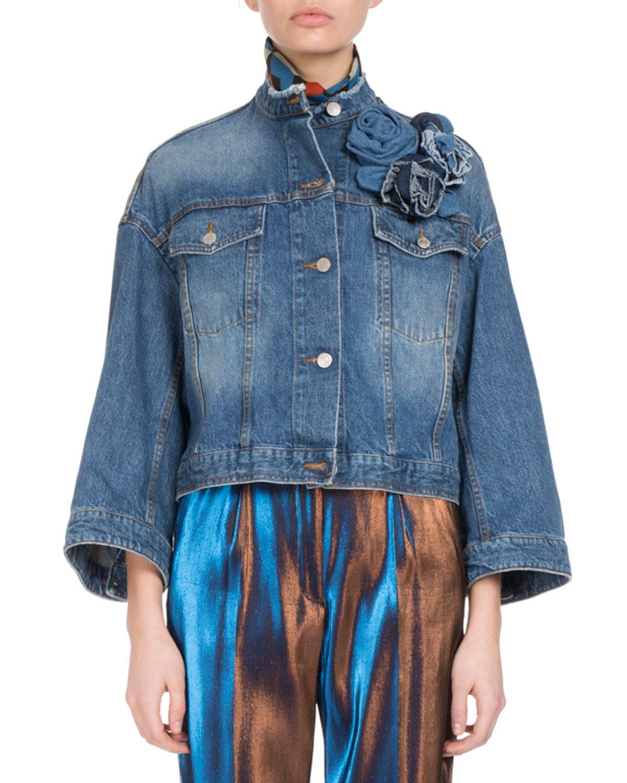 f74a4b9013 Lyst - Dries Van Noten Visti Cropped Denim Jacket in Blue