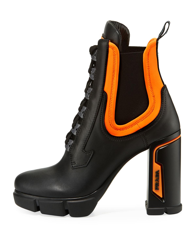 prada orange and black boots - 63% OFF