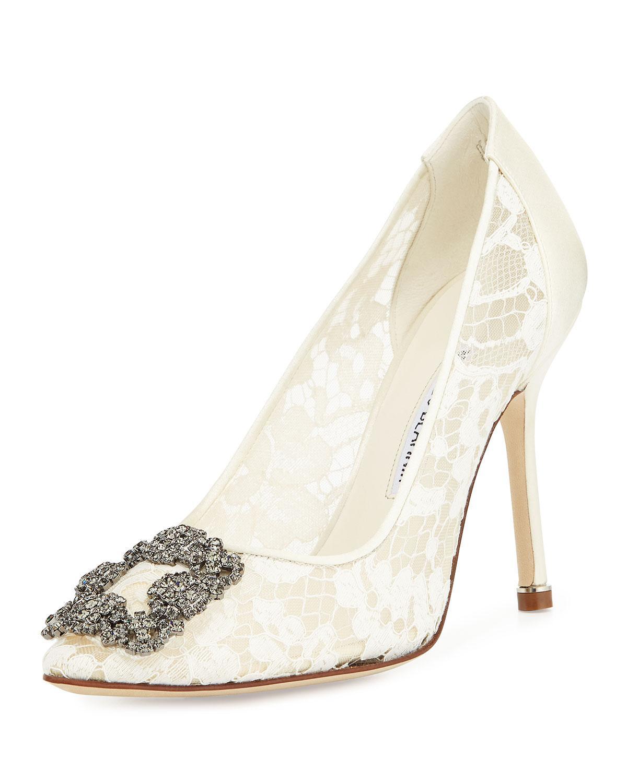 Bridal Shoes Saks: Manolo Blahnik Hangisi Floral-Lace Crystal-Toe