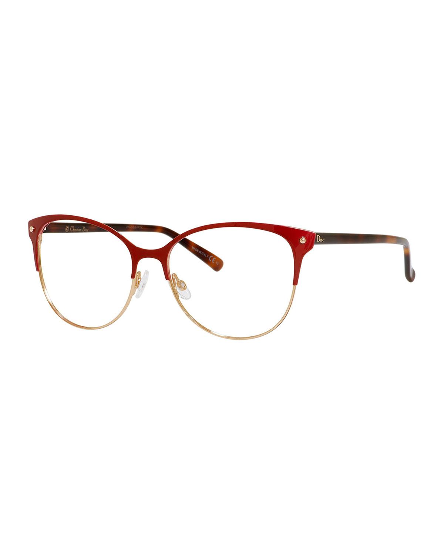 Dior Metal Eyeglass Frames : Dior Semi-rimless Fashion Glasses in Black Lyst