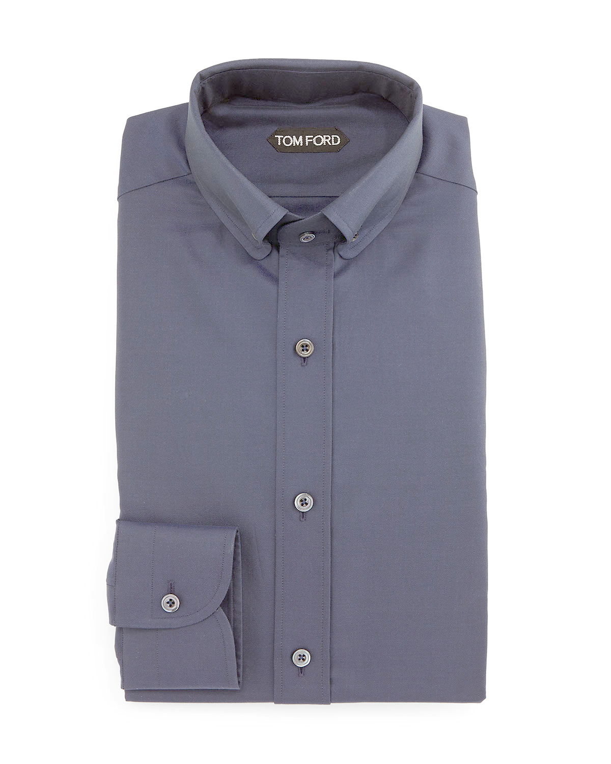 tom ford button down collar solid shirt in blue for men lyst. Black Bedroom Furniture Sets. Home Design Ideas
