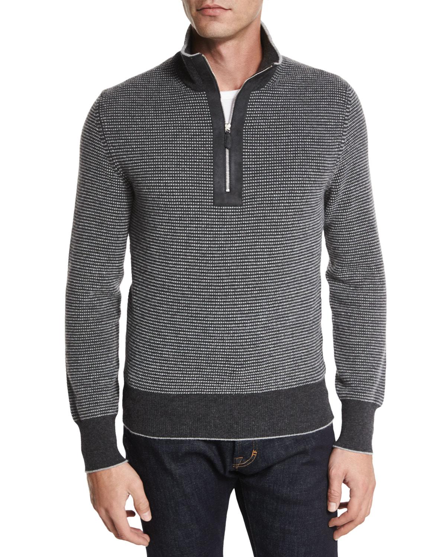 tom ford cashmere dot print half zip sweater in gray for. Black Bedroom Furniture Sets. Home Design Ideas