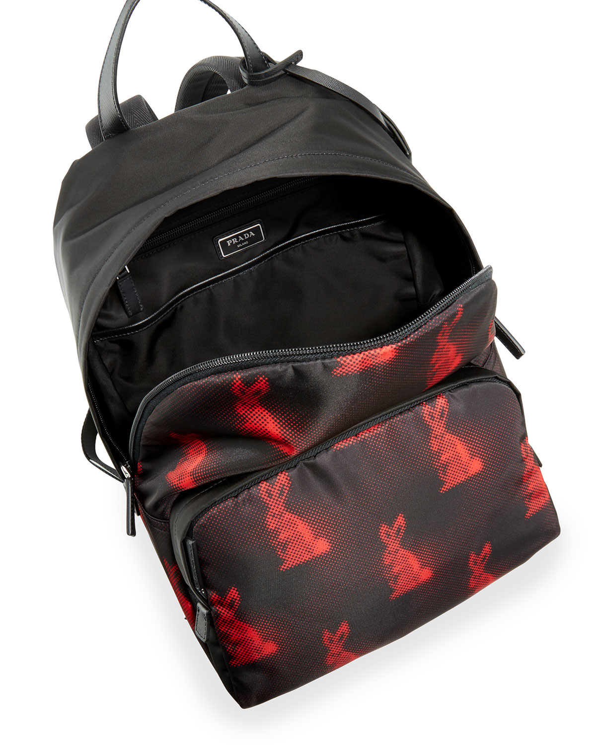 fb3f60d1a15ce7 ... where to buy lyst prada mens digital bunny print nylon backpack in red  for men 6bc6b