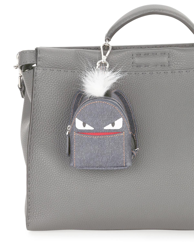 ce9b9f6124c0 Lyst - Fendi Monster Denim Backpack Charm W fur in Gray