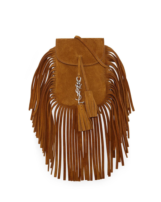 6f1993d978 Lyst - Saint Laurent Anita Mini Fringed Suede Shoulder Bag in Brown